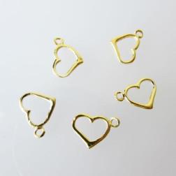 22 K  Goud Vermeil bedeltje, open hart, 13 x 9 mm, per 5 stuks