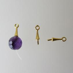 22 K Goud vermeil hangeroog met pin, 12 mm, 1 micron plated, verpakt per 5 stuks