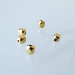 22 K Goud vermeil kraal, kubus, 3 x 3 x 3 mm, verpakt per 20 stuks