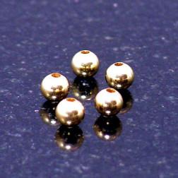 22 K Goud vermeil kraal, 4 mm, verpakt per 50 stuks