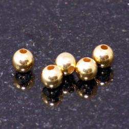22 K Goud vermeil kraal, 6 mm, verpakt per 10  stuks