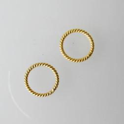 22 K Goud vermeil ring, twisted, 10 mm, 1 micron plated, per 10 stuks
