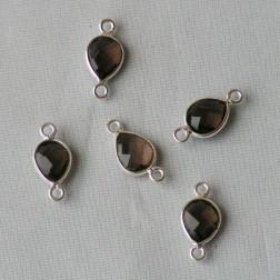 Sterling zilveren (925) tussenstuk, ROOKKWARTS, 15 x 7 mm, per stuk