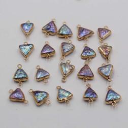Goldplated tussenstuk, zoetwaterparel, paars, driehoekig, 12 mm, per stuk
