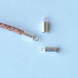 Sterling zilveren (925) eindstuk voor 5 mm leren koord,  verpakt per stuk