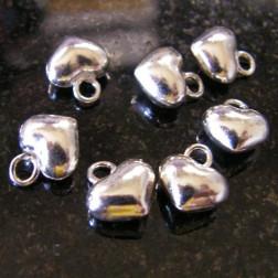 Sterling zilveren (925) bedel, hartje, 8 mm, per 5 stuks