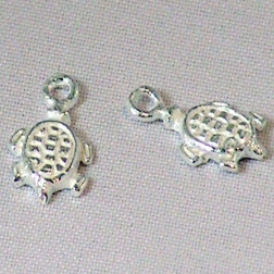 Sterling zilveren (925) bedel, schildpad, per 5 stuks