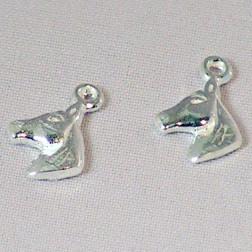 Sterling zilveren (925) bedel, paardenhoofd, per 5 stuks