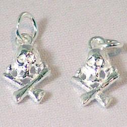 Sterling zilveren (925) bedel, doodshoofd, per 5 stuks