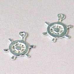 Sterling zilveren (925) bedel, stuurwiel, per 5 stuks