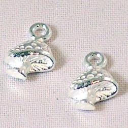 Sterling zilveren (925) bedel, paddestoel, per 5 stuks