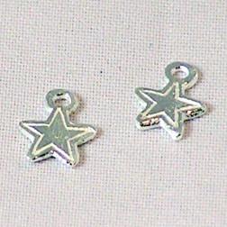 Sterling zilveren (925) bedel, ster, mat, per 5 stuks