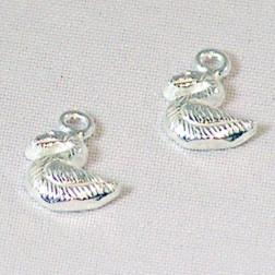 Sterling zilveren (925) bedel, eend, per 5 stuks