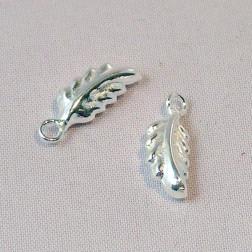 Sterling zilveren (925) bedel, blad, per 5 stuks