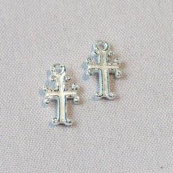Sterling zilveren (925) bedel, kruisje, per 5 stuks