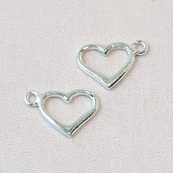 Sterling zilveren (925) bedel, hart, per 5 stuks