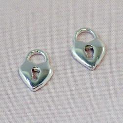 Sterling zilveren (925) bedel, slot/hart, per 5 stuks