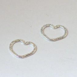Sterling zilveren (925) tussenstuk, hart, bewerkt, 12 mm, per 5 stuks