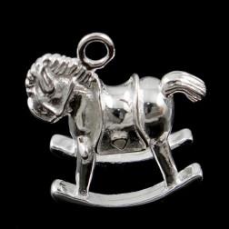 Sterling zilveren (925) bedel, schommelpaard, 17 x 16 x 9 mm, per stuk