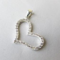Sterling zilveren (925) hanger, hart met zirkonia's, 25 x 19 mm, per stuk