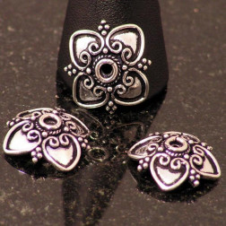 Sterling zilveren (925) kralenkapje in Bali stijl, verpakt per 6 stuks