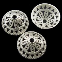 Sterling zilveren (925) kralenkapje, 13.5 mm, bewerkt, verpakt per stuk