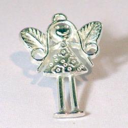 Zilverkleurige bedel, engeltje, 36 mm, verpakt per 10  stuks