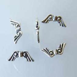 Zilverkleurig tussenstuk, engelenvleugels, 20 x 8 x 3 mm, verpakt per 10  stuks