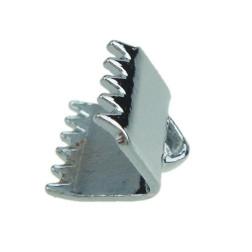 Eindklem voor leer, 8 x 7 mm, zilverkleurig, verpakt per 50 stuks