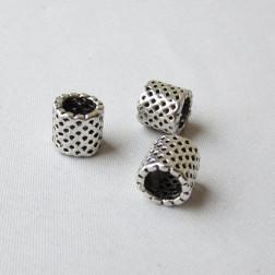 Zilverkleurige metalen kraal, 9 x 8.5 mm, grootgatskraal, per 10 stuks