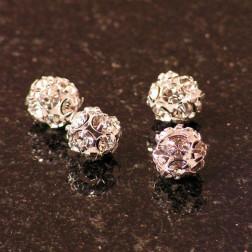 Strassbal, zilverkleurig, 10 mm, per 10 stuks