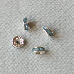 Blauwkleurige spacer/rondel, met strass steentjes, 6 mm, per 100 stuks, OP = OP !