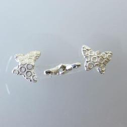 Sterling zilveren (925) kraal, vlinder, 9 x 11 x 3 mm, per stuk