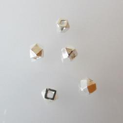 Sterling zilveren (925) kraal, kubus, 2 mm, per 10 stuks