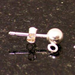 Sterling zilveren (925) oorsteker, met 5 mm bal, verpakt per 20 stuks