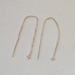 Sterling zilveren (925) lange Threader, 80 mm,  per 20  stuks
