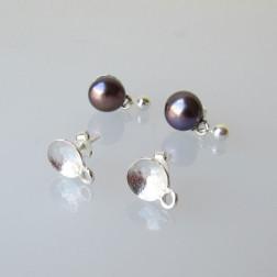 Sterling zilveren (925) oorsteker, met kuipje van 4 mm, verpakt per 10 stuks