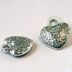 Zilverkleurige bewerkt hart, 18 x 20 mm, per  30  stuks