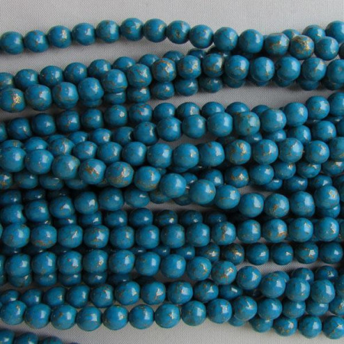 Turquoise bead with gold vein, 6 mm, per strand