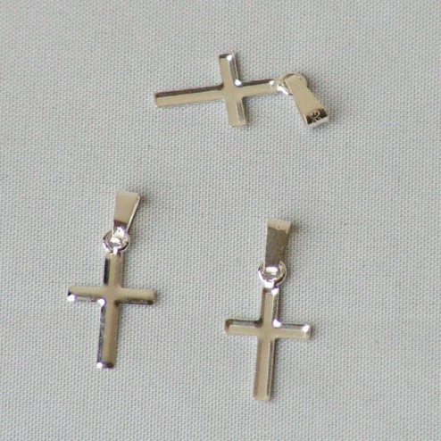 Sterling silver Cross, 16 x 9 mm, per 5 pieces